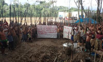 Kichwas protesting in the northern Peruvian Amazon following more than 40 years